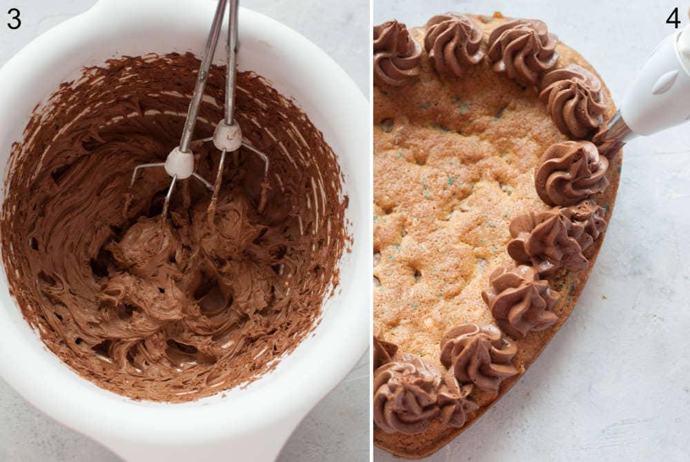Krem czekoladowy w białej misce. Krem czekoladowy wyciskany na ciasto.