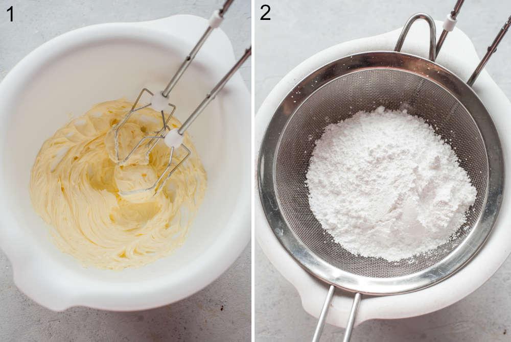 Ubite masło w białej misce. Mąka przesiewana do miski.