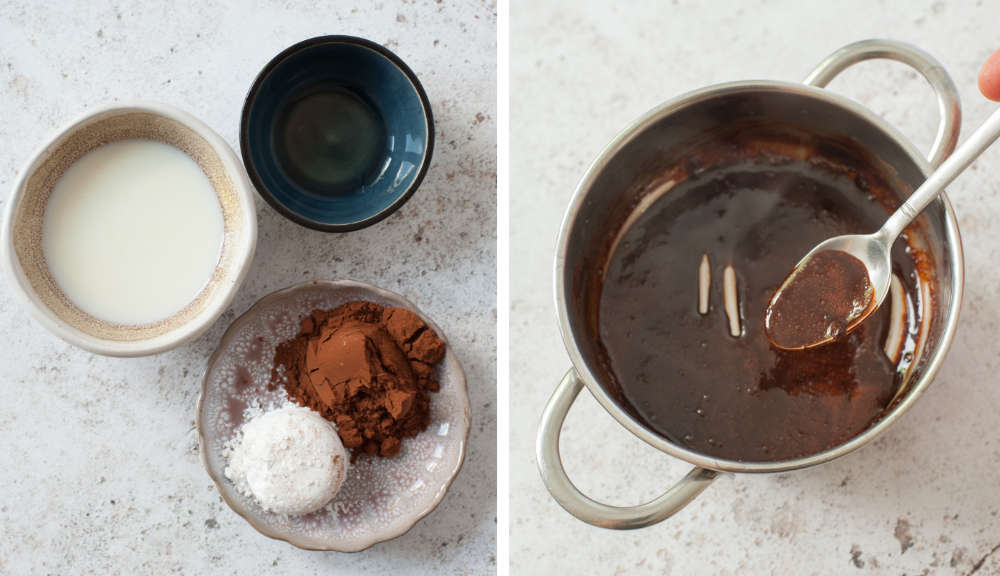 A collage of 2 photos showing how to make homemade mocha sauce.
