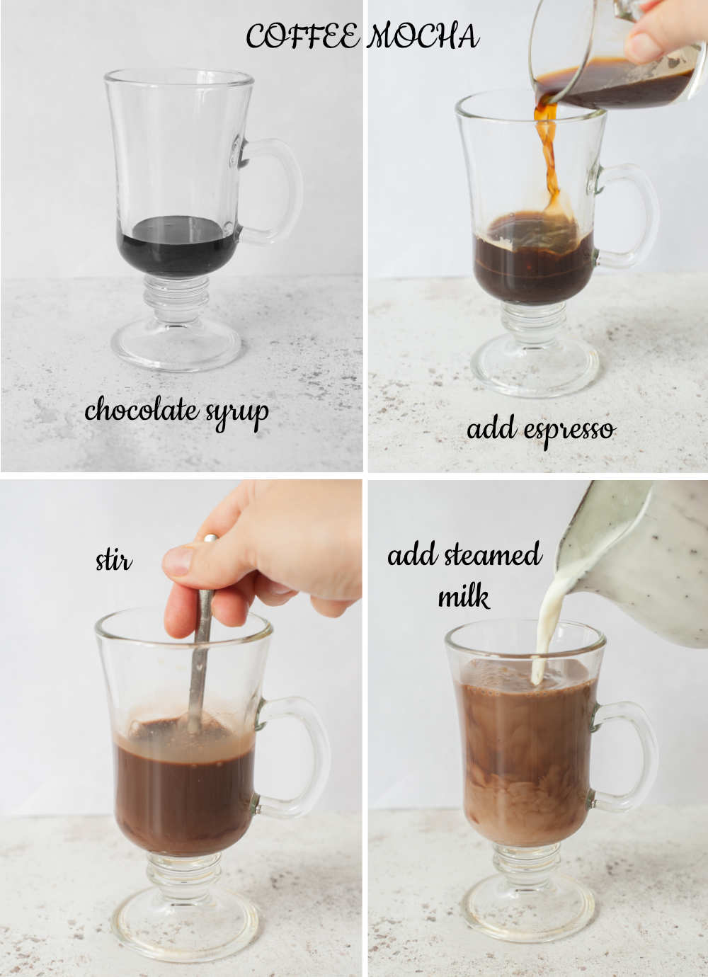 A collage of 4 photos showing how to make coffee mocha.