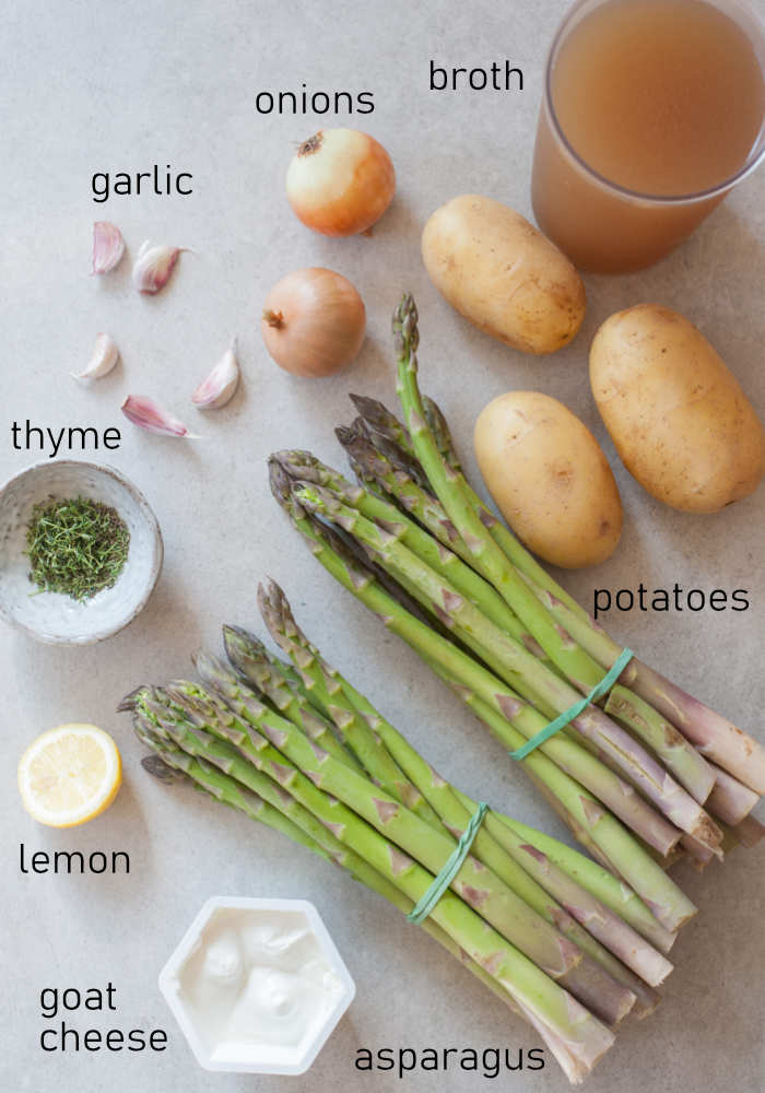 Labeled ingredients for cream of asparagus soup.