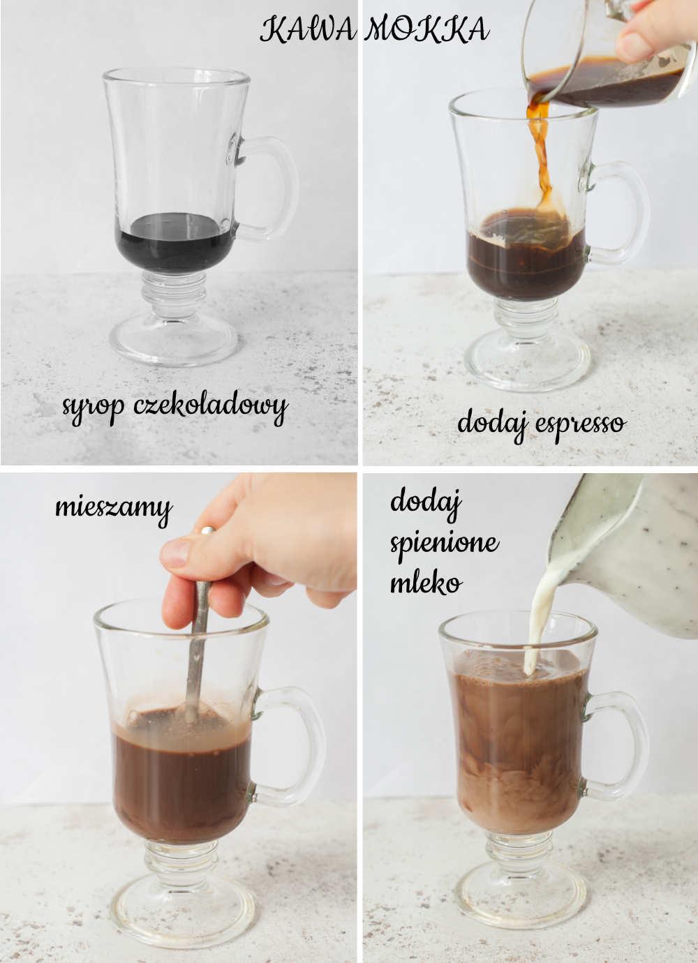 Kolaż 4 zdjęć pokazujący jak przygotowa kawę mokka.