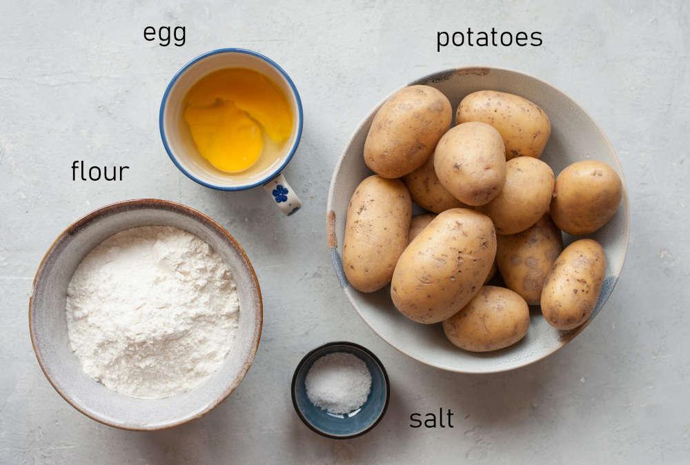 Labeled ingredients for Polish potato dumplings.