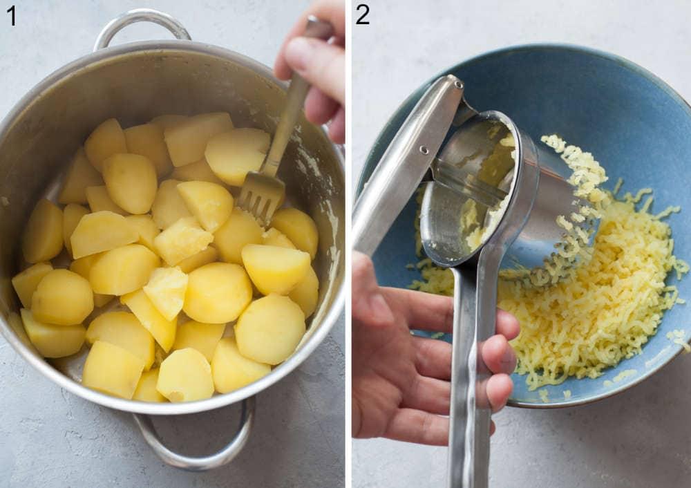 Ugotowane ziemniaki w garnku. Ziemniaki przeciskane przez praskę do ziemniaków do niebieskiej miski.