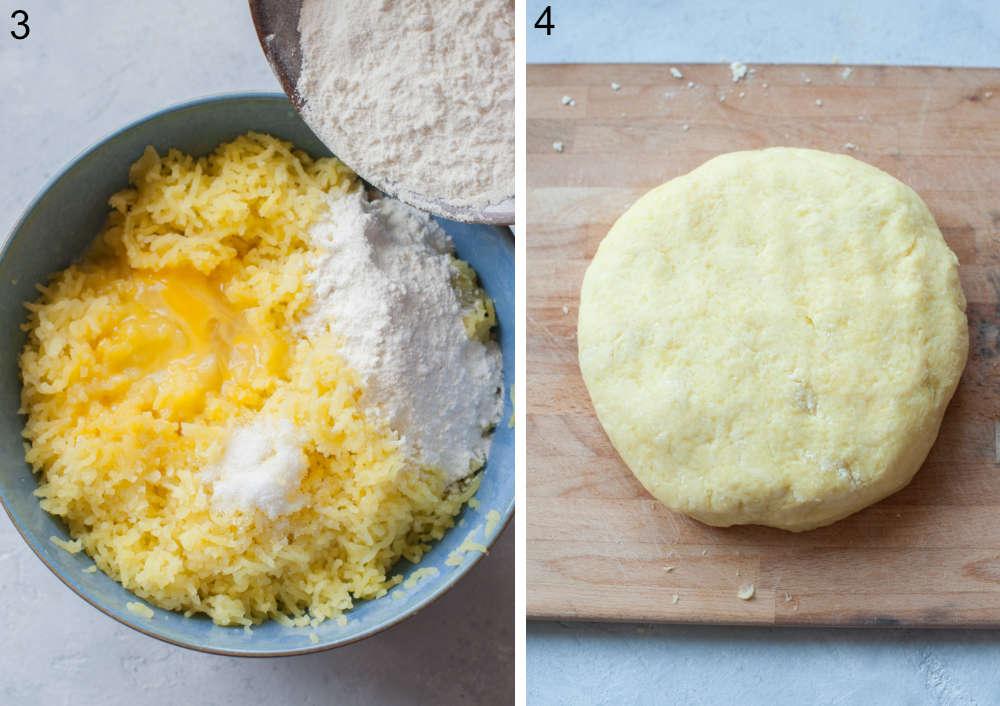 Mąka dodawana do pozostałych składników na kopytka w niebieskiej misce. Ciasto na kopytka na desce do krojenia.