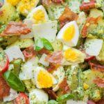 Pesto potato salad pinnable image.