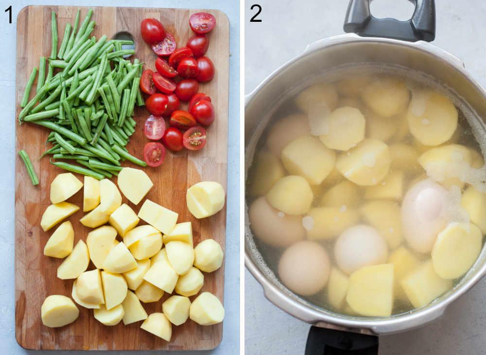 Ziemniaki, fasolka szparagowa i pomidorki cherry pocięte na kawałki na desce do krojenia. Ziemniaki i jajka w garnku.