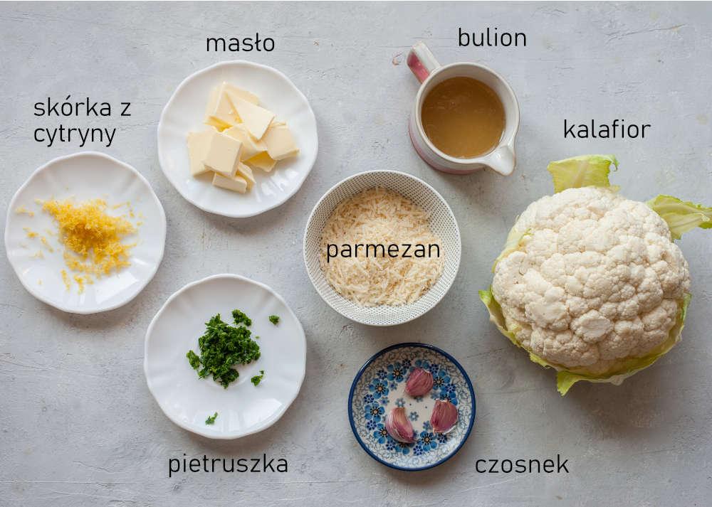 Składniki na ryż z kalafiora.