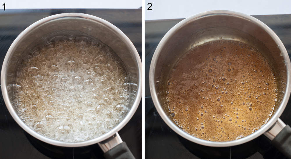 Water and sugar are being cooked in a pot. Caramel in a pot.