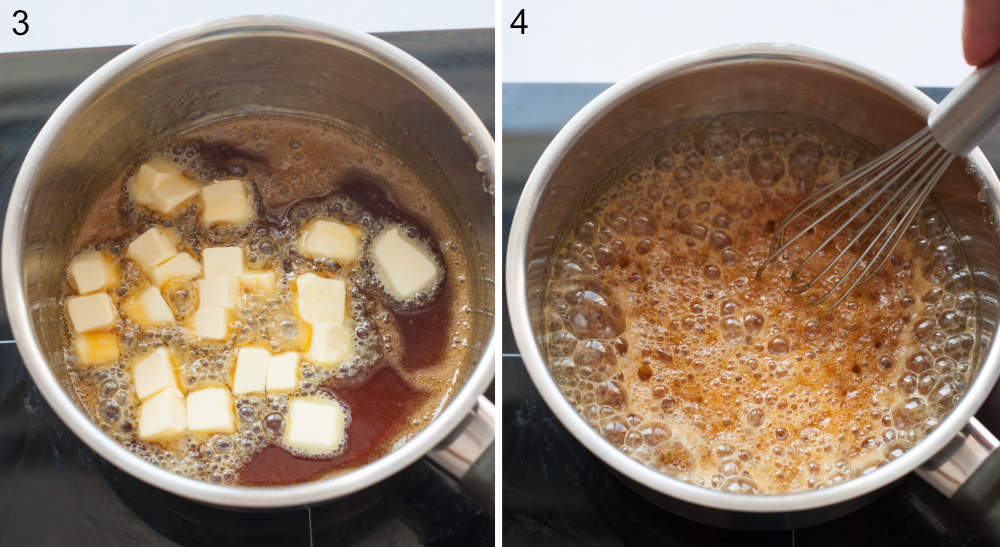 Caramel and butter in a pot. Caramel and butter are being whisked in a pot.