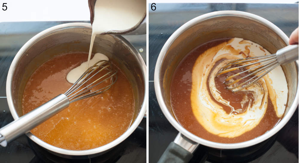 Cream is being added to caramel sauce.