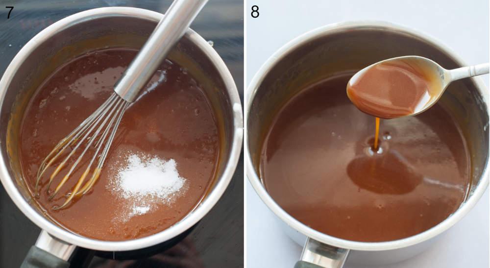 Salt added to a pot with caramel sauce. Caramel sauce spooned from a pot.