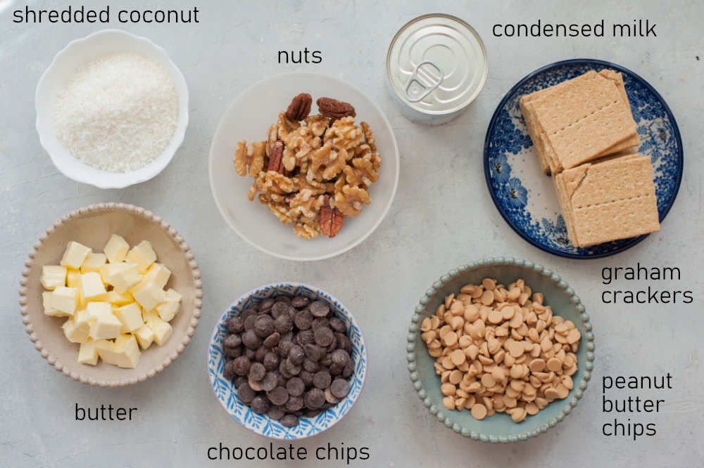 Labeled ingredients for 7-layer Magic Bars.