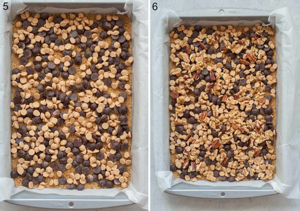 Cookie crust, chocolate chips, peanut butter chips and nuts in a baking pan.