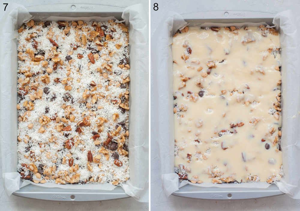 Cookie crust, chocolate chips, peanut butter chips, nuts, shredded coconut, and sweetened condensed milk in a baking pan.