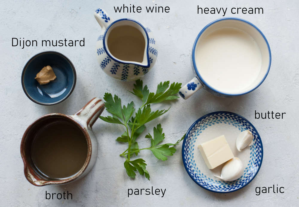 Labeled ingredients for creamy pan sauce.