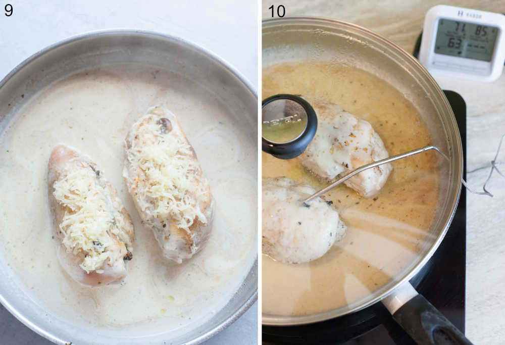 Chicken breasts topped with cheese and pan sauce in a pan. Temperature of chicken breasts in a pan is being measured with a grill thermometer.