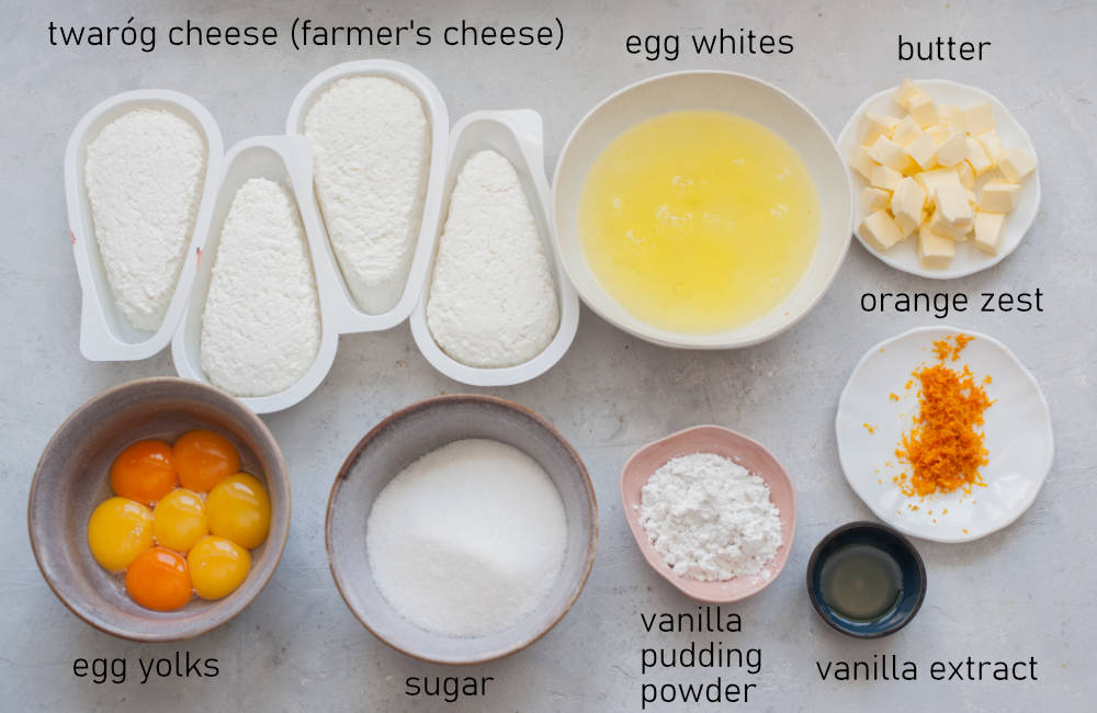 Labeled ingredients for cheesecake.