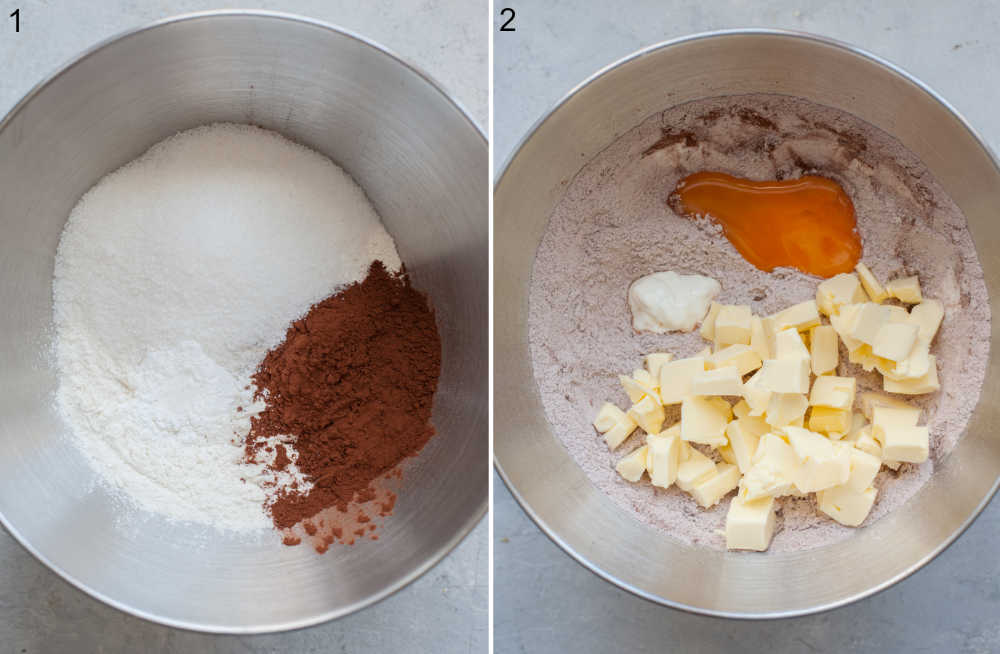 Flour and cocoa in a bowl. Cheesecake crust ingredients in a bowl.