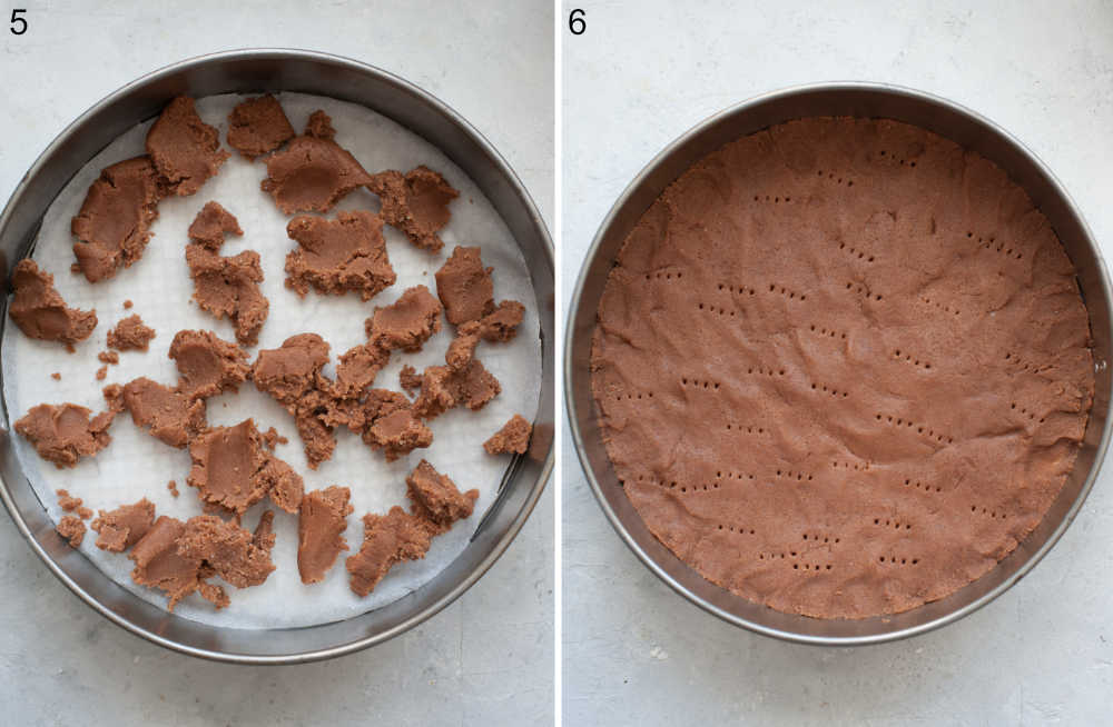 A springform pan with cocoa crust.