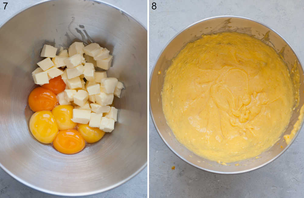 Egg yolks and butter in a bowl. Beaten egg yolks and butter in a bowl.