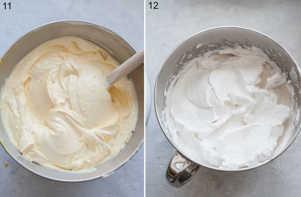 Cheesecake batter in a bowl. Beaten egg whites in a bowl.