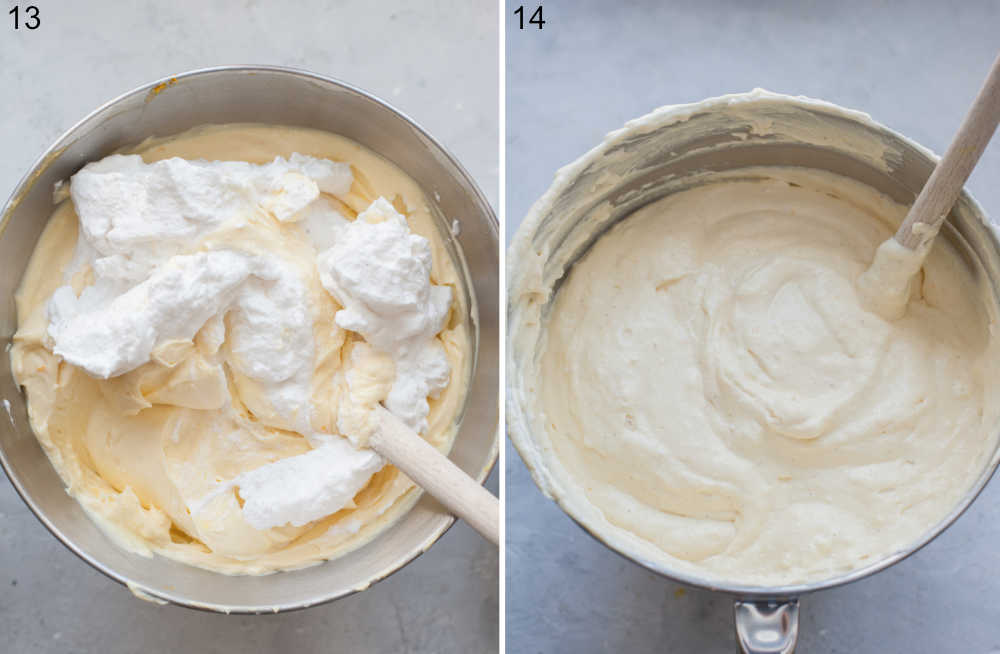 Beaten egg whites are being added to cheesecake batter.