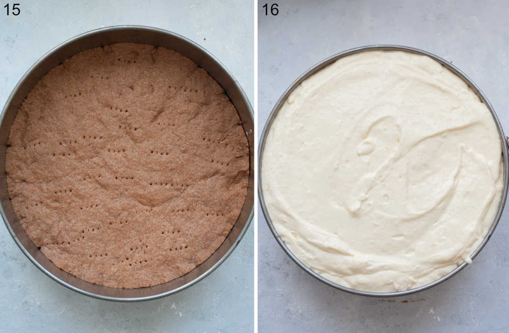 Baked cocoa crust in a springform pan. Cheesecake filling in a springform pan.