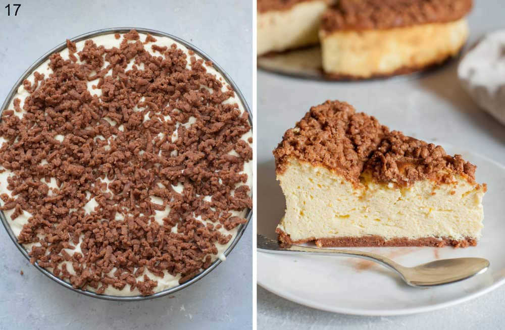 Unbaked cheesecake in a springform pan. Baked cheesecake on a plate.