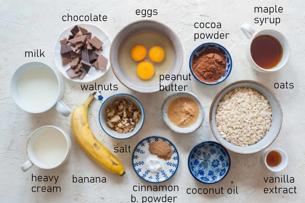 Labeled ingredients for baked chocolate oatmeal.