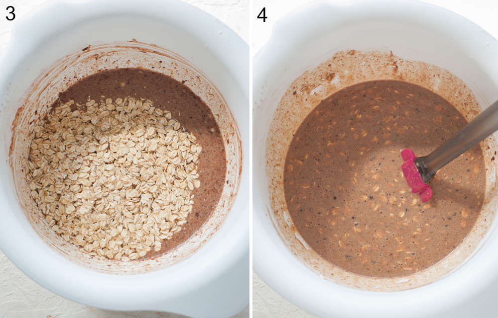 Oatmeal batter and oats in a white bowl. Oatmeal batter is being stirred with a spatula.
