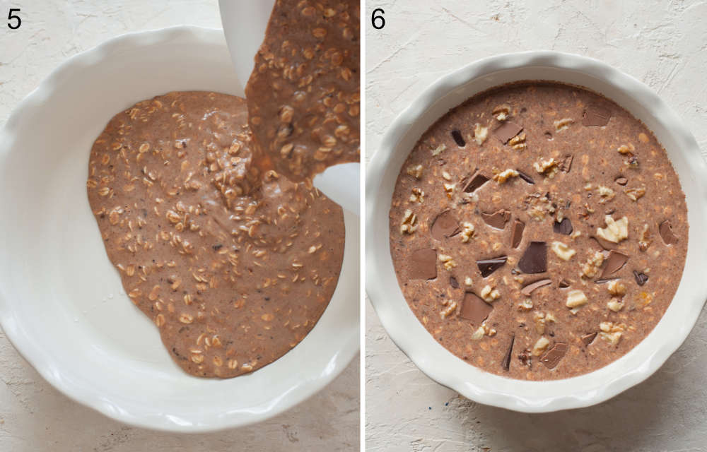 Oatmeal batter is being poured into a baking dish. Oatmeal batter in a baking dish topped with chocolate and nuts.