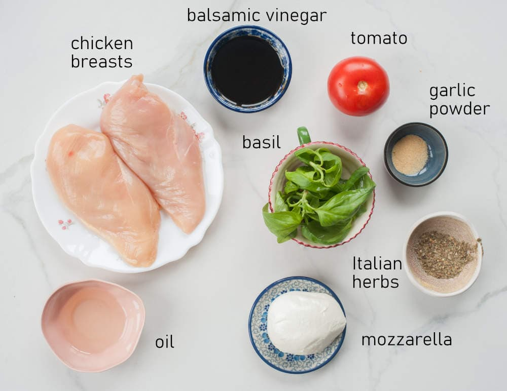 Labeled ingredients for Caprese chicken.
