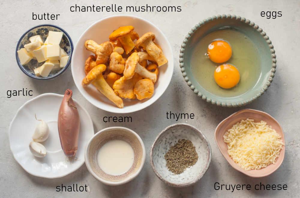 Labeled ingredients for chanterelle mushroom omelette.