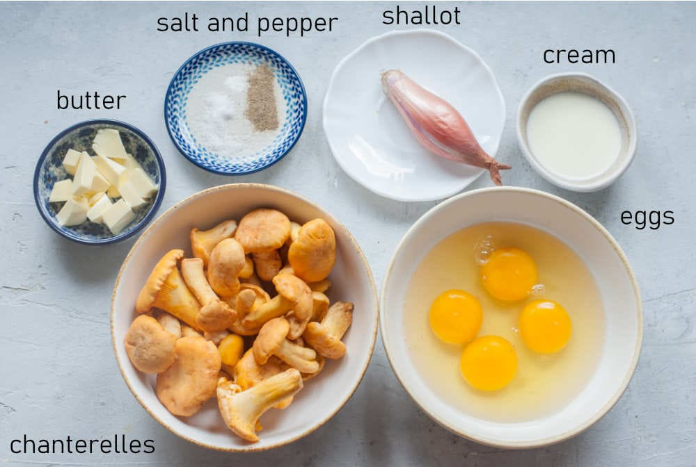 Labeled ingredients for chanterelle scrambled eggs.