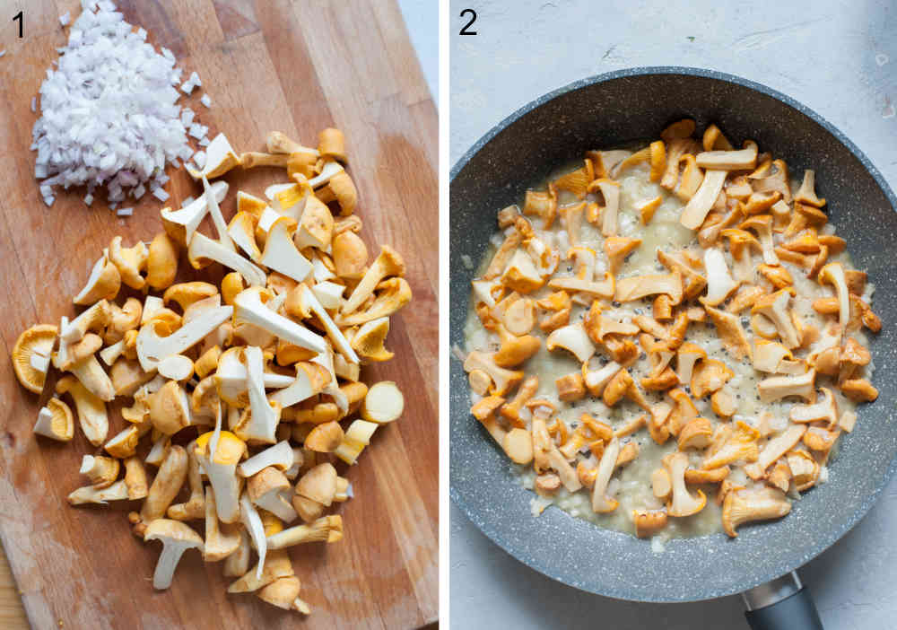 Chopped chanterelle mushrooms and onion on a wooden boards. Sauteed mushrooms and onions in a frying pan.