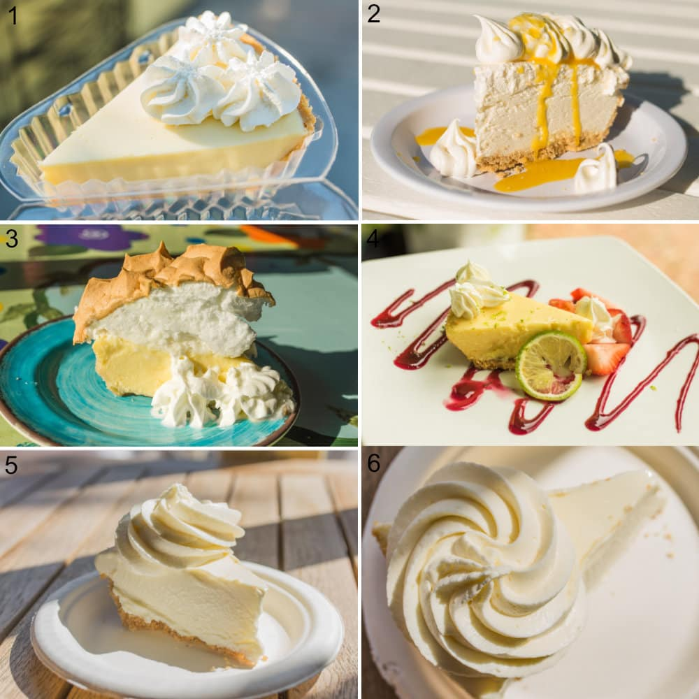 A collage of 6 photos showing different key lime pies in Florida Keys.