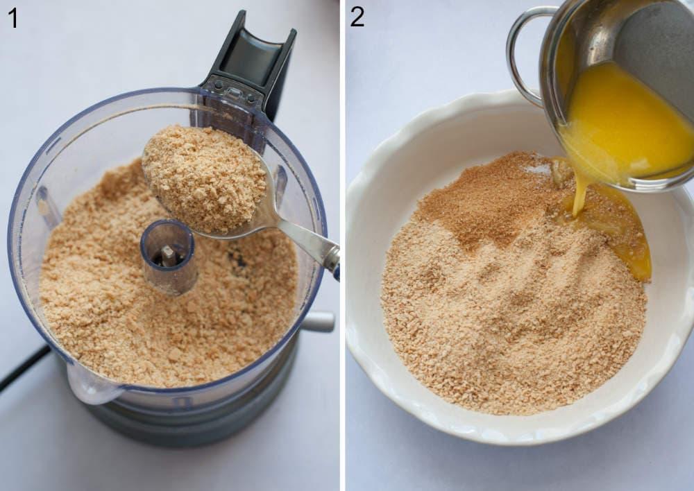 Graham cookies crumbs in a food processor. Butter is being added to graham cookie crumbs in a pie dish.