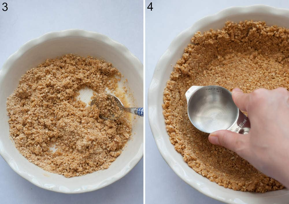 Graham cookie crumbs are being stirred with a spoon in a pie dish. Cookie crumbed are being pressed with a measuring cup.