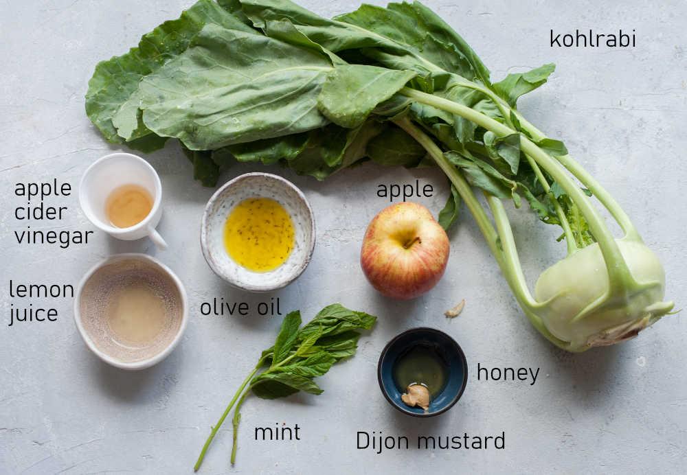 Labeled ingredients for kohlrabi slaw.