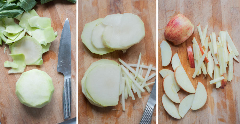 A collage of 3 photos showing how to cut a kohlrabi and an apple.