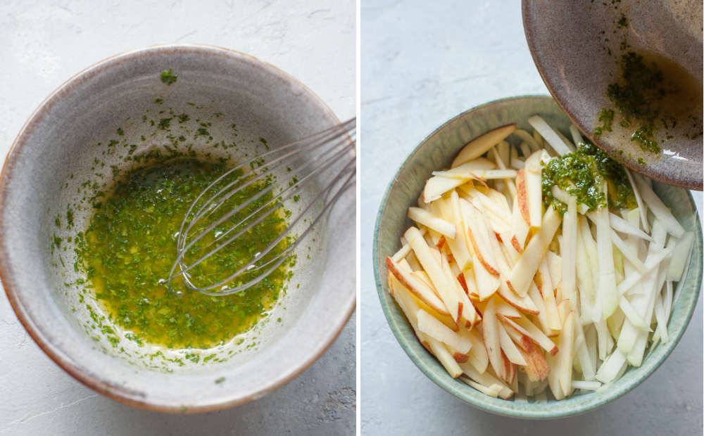 Mint vinaigrette in a grey bowl. Mint vinaigrette is being added to chopped kohlrabi and apple in a bowl.