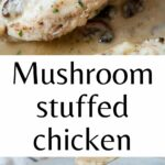 Mushroom stuffed chicken pinnable image.