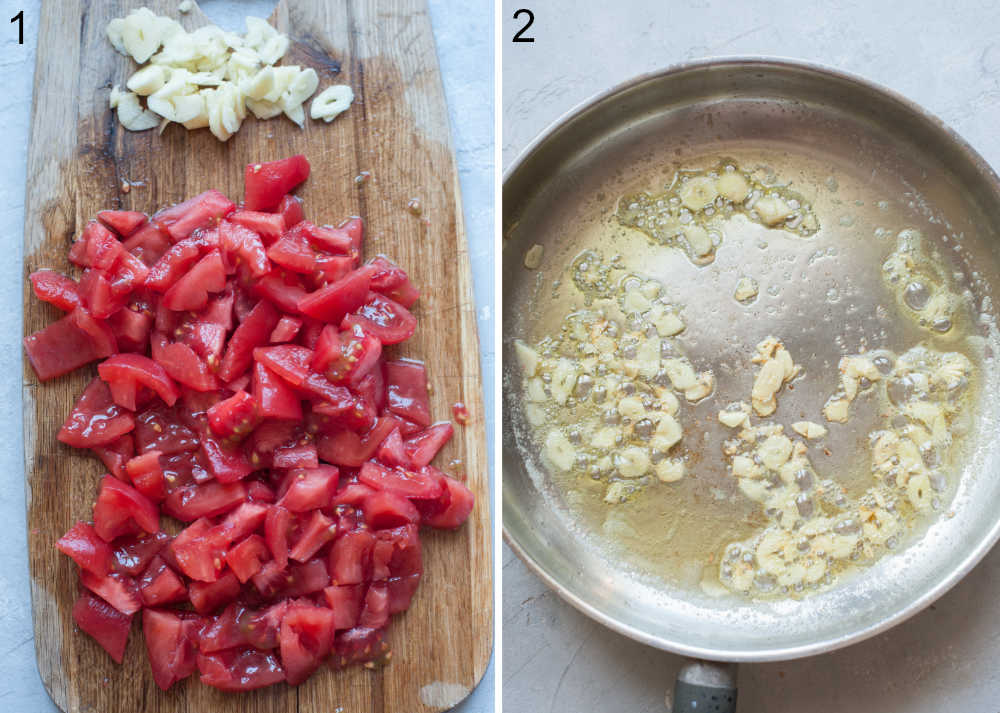 Chopped tomatoes and sliced garlic on a wooden board. Garlic with butter and olive oil in a frying pan.