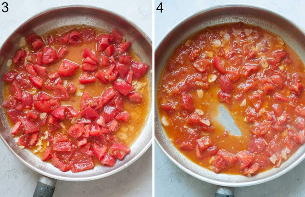 Tomatoes are being cooked in a frying pan.