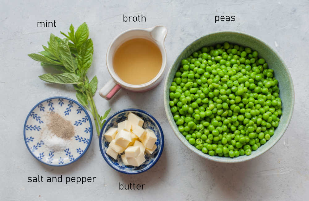 Labeled ingredients for mint pea puree.