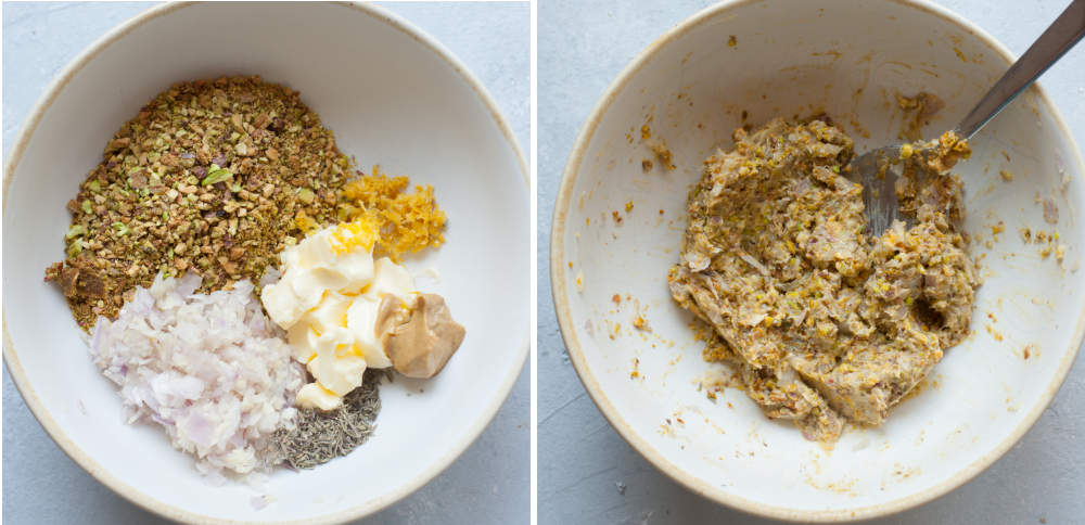 Ingredients for pistachio crust in a white bowl. Pistachio butter herb mixture in a white bowl.