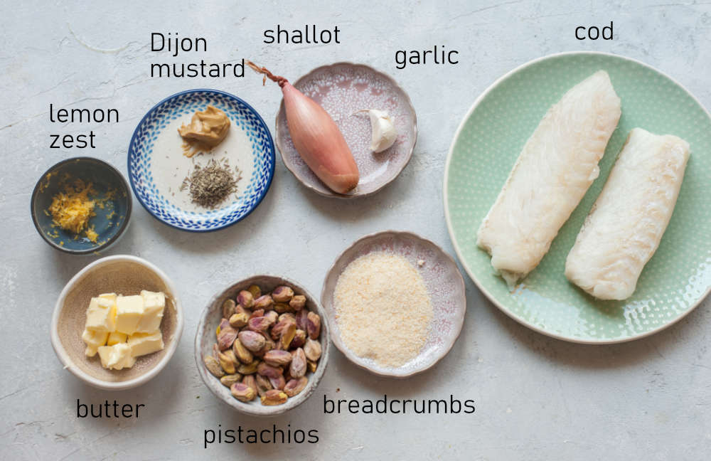 Labeled ingredients for pistachio crusted fish.