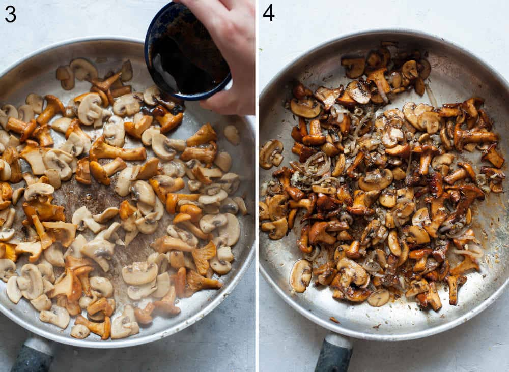 Balsamic vinegar is being added to the mushrooms in a pan. Sautéed mushrooms and onions in a pan.