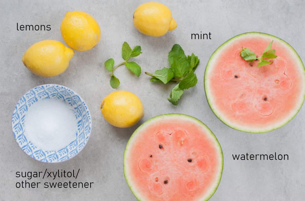 Labeled ingredients for watermelon mint lemonade.